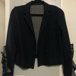 Top shop blazer with ruffle sleeves